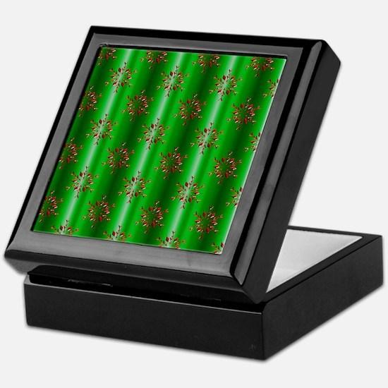 Red Christmas Stars on Green Keepsake Box