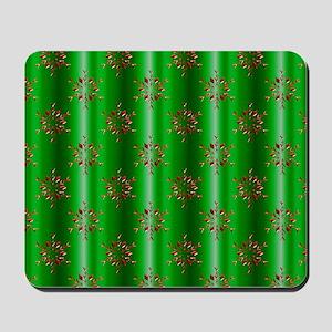 Red Christmas Stars on Green Mousepad