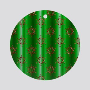 Red Christmas Stars on Green Round Ornament
