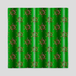 Red Christmas Stars on Green Queen Duvet