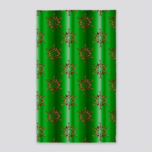 Red Christmas Stars on Green Area Rug