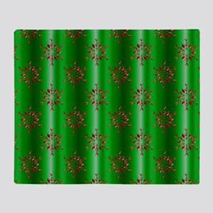 Red Christmas Stars on Green Throw Blanket