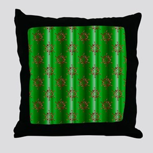 Red Christmas Stars on Green Throw Pillow