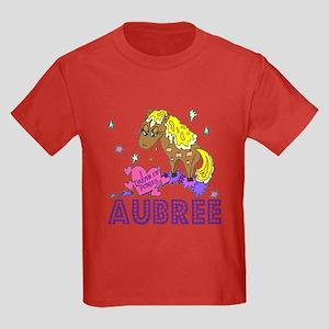 I Dream Of Ponies Aubree Kids Dark T-Shirt