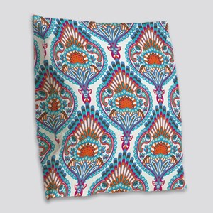 Ornate Paisley Pattern Burlap Throw Pillow