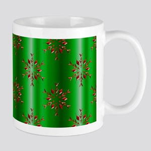 Red Christmas Stars on Green Mugs