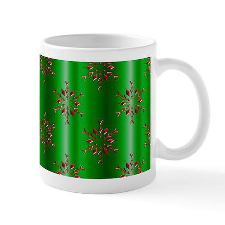 Red Christmas Stars on Green Mugs