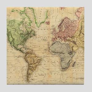 Vintage Map of The World (1831) Tile Coaster