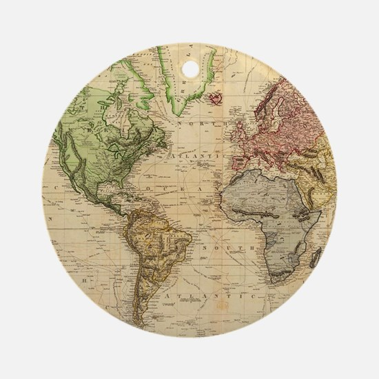 Vintage Map of The World (1831) Ornament (Round)