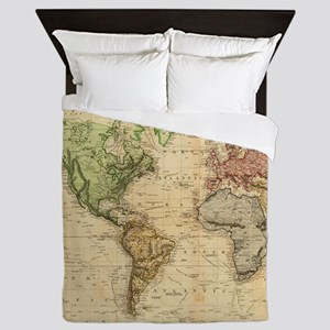 Vintage Map of The World (1831) Queen Duvet