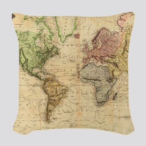 Vintage Map of The World (1831 Woven Throw Pillow