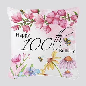100th Birthday Watercolor Woven Throw Pillow