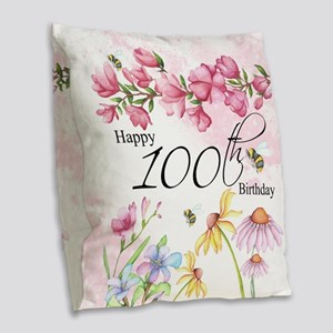 100th Birthday Watercolor Burlap Throw Pillow