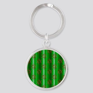 Red Christmas Stars on Green Keychains
