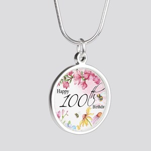 100th Birthday Watercolor Silver Round Necklaces