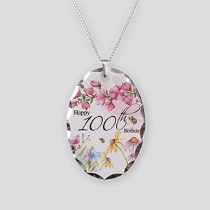 100th Birthday Watercolor Necklace Oval Charm
