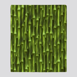 Green Bamboo Forest Throw Blanket