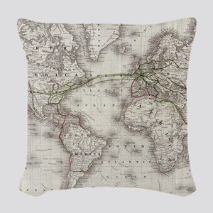 Vintage World Telegraph Lines Woven Throw Pillow