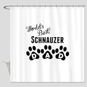 Worlds Best Schnauzer Dad Shower Curtain