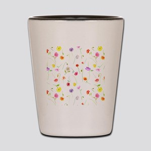 Watercolor Poppy Pattern Shot Glass