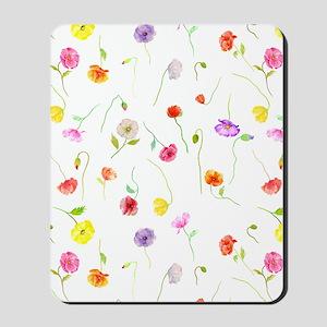 Watercolor Poppy Pattern Mousepad