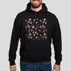 Watercolor Poppy Pattern Hoodie (dark)