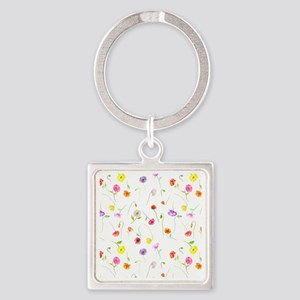 Watercolor Poppy Pattern Square Keychain