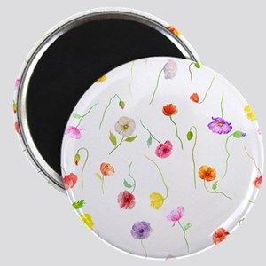Watercolor Poppy Pattern Magnet