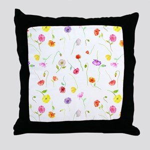 Watercolor Poppy Pattern Throw Pillow