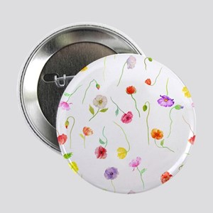 "Watercolor Poppy Pattern 2.25"" Button"