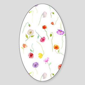 Watercolor Poppy Pattern Sticker (Oval)