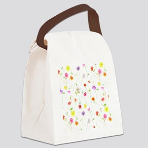 Watercolor Poppy Pattern Canvas Lunch Bag
