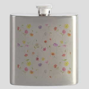 Watercolor Poppy Pattern Flask