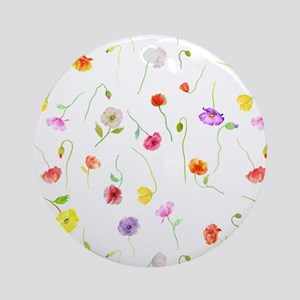 Watercolor Poppy Pattern Round Ornament