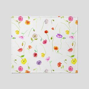 Watercolor Poppy Pattern Throw Blanket