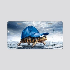 Turtle With Cap Aluminum License Plate