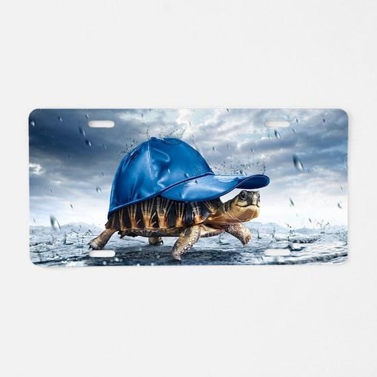 Turtle With Cap Aluminum License Plate