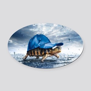 Turtle With Cap Oval Car Magnet