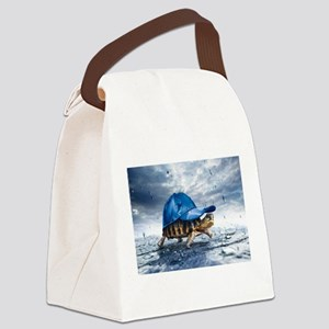 Turtle With Cap Canvas Lunch Bag