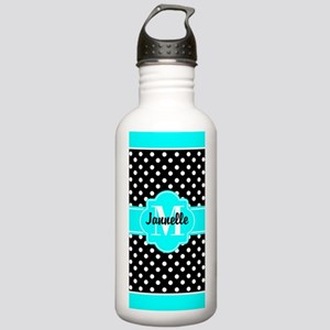 Aqua and Black Polka D Stainless Water Bottle 1.0L