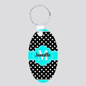 Aqua and Black Polka Dots C Aluminum Oval Keychain