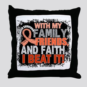 Endometrial Cancer Survivor FamilyFri Throw Pillow