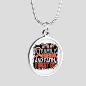 Endometrial Cancer Survivor Silver Round Necklace