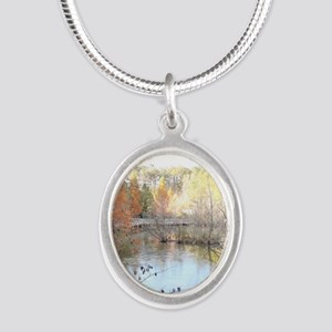 Skies Across the Pond Silver Oval Necklace