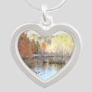 Skies Across the Pond Silver Heart Necklace