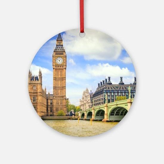 London Bridge And Big Ben Ornament (Round)
