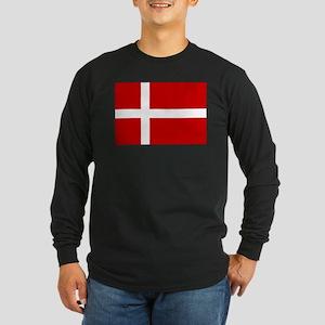 Danish Flag Long Sleeve Dark T-Shirt