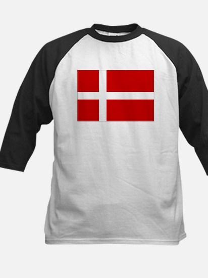 Danish Flag Kids Baseball Jersey