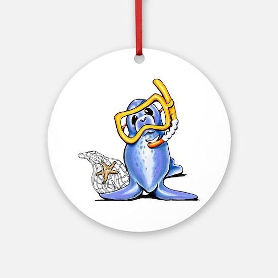 Snorkel Seal Ornament (Round)