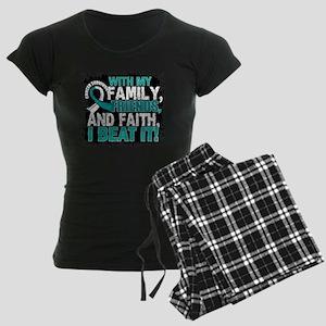 Cervical Cancer Survivor Fam Women's Dark Pajamas